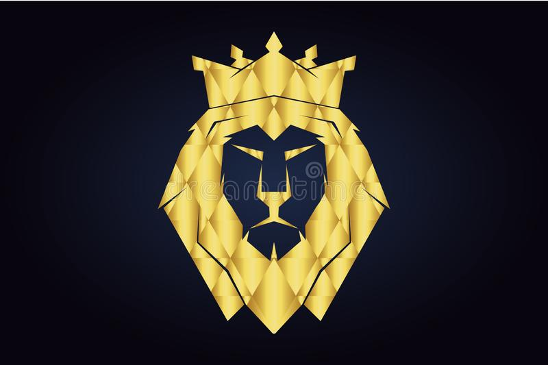 Lion`s polygonal head with gold crown. King lion. Polygonal lion silhouette. Head of the lion with closed mouth Golden triangles. Golden safari animal head royalty free illustration
