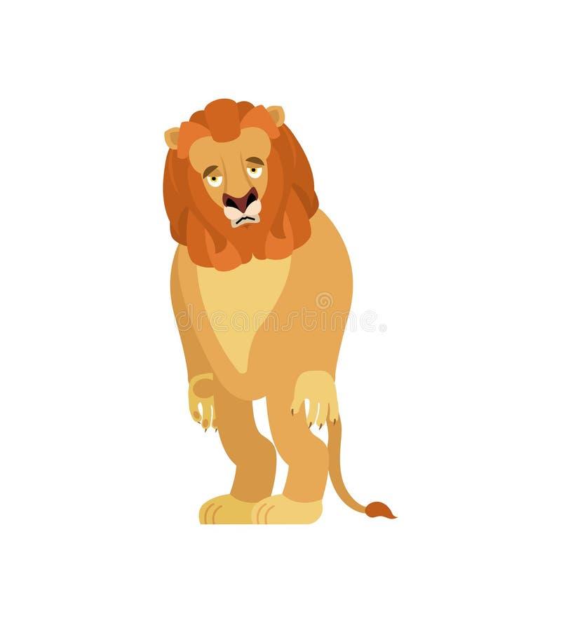 Lion sad. Wild animal sorrowful. Beast dull. Vector illustration vector illustration
