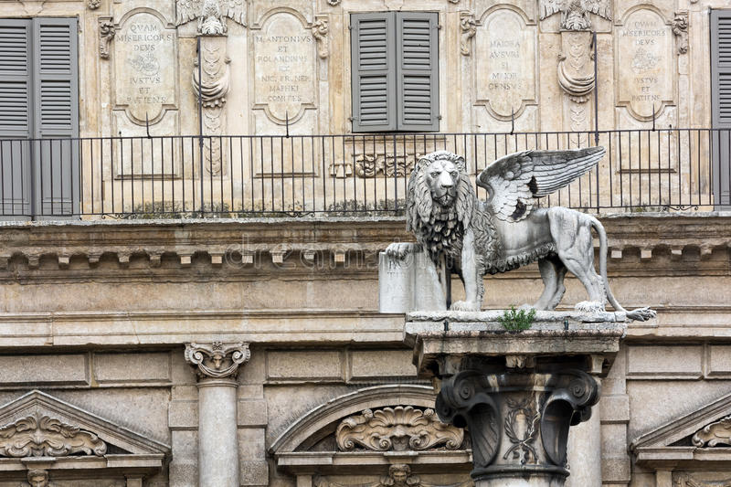 The lion of saint Marco statue in Verona, Italy. stock photos