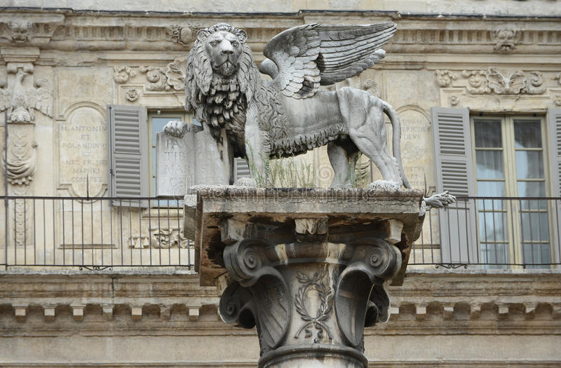 The Lion Of Saint Marco Statue In Verona royalty free stock image