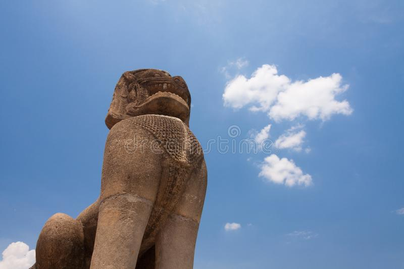 Lion sandstone statue in Phimai historical park. Prasat Hin Phimai Nakhon Ratchasima, Thailand.  royalty free stock image
