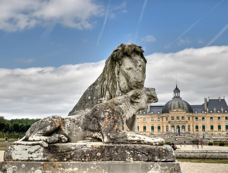 Lion sculpture in Castle Vaux le Vicomte stock photos
