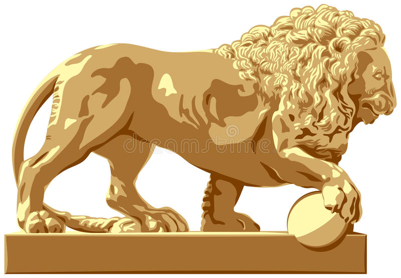 Lion sculpture. Classicism style architecture detail at an input in a palace, park, garden and fountain in London, Paris, Saint Petersburg, Vienna and other royalty free illustration