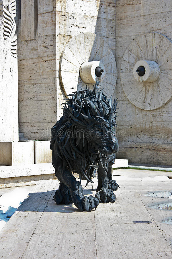 Lion Sculpture en Cascade in Yerevan Armenië royalty-vrije stock fotografie