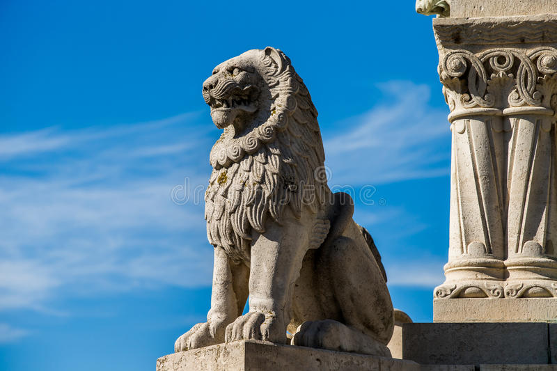 Lion Sculpture at Fishermans Bastion royalty free stock photo