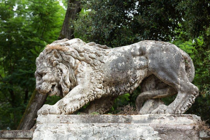 Lion sculpture in Garden of Villa Borghese. Rome stock images