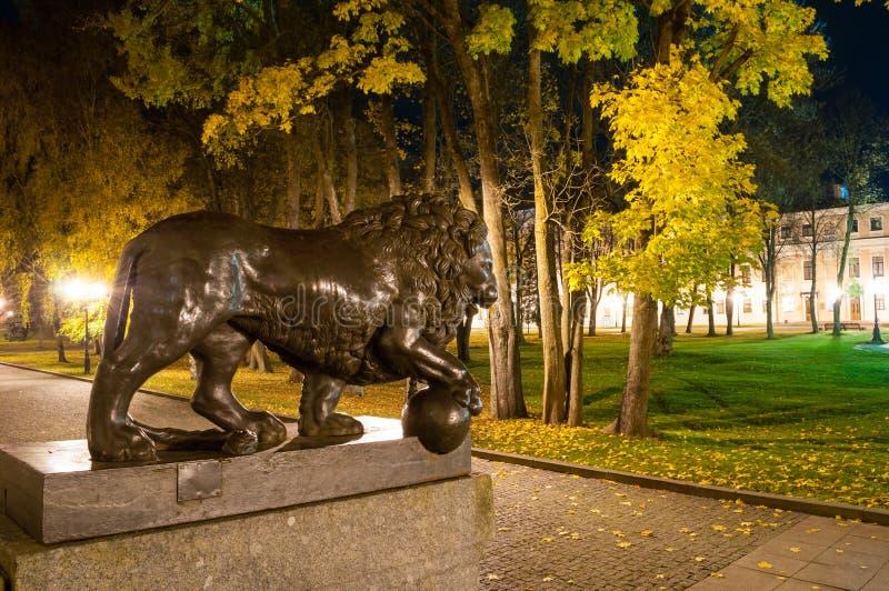 Lion sculpture in the Kremlin park in Veliky Novgorod, Russia. Night autumn view. Of Veliky Novgorod Russia landmark royalty free stock photos