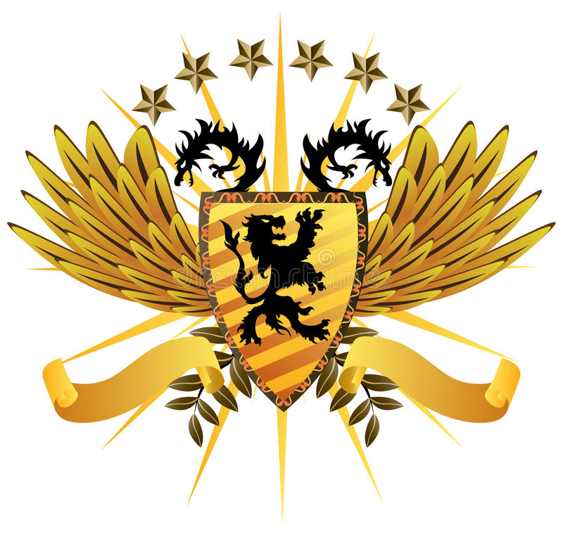 Lion Shield royaltyfri illustrationer