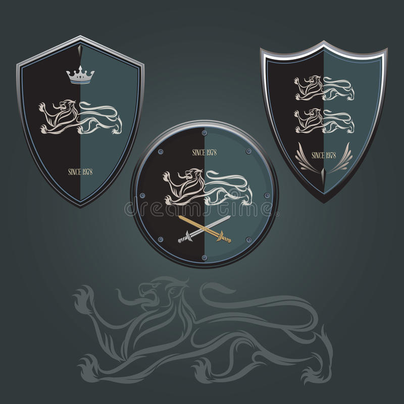 Lion Shield stock illustrationer