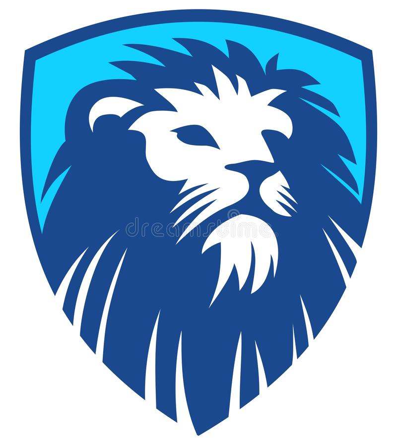 Lion Shield blått royaltyfri illustrationer