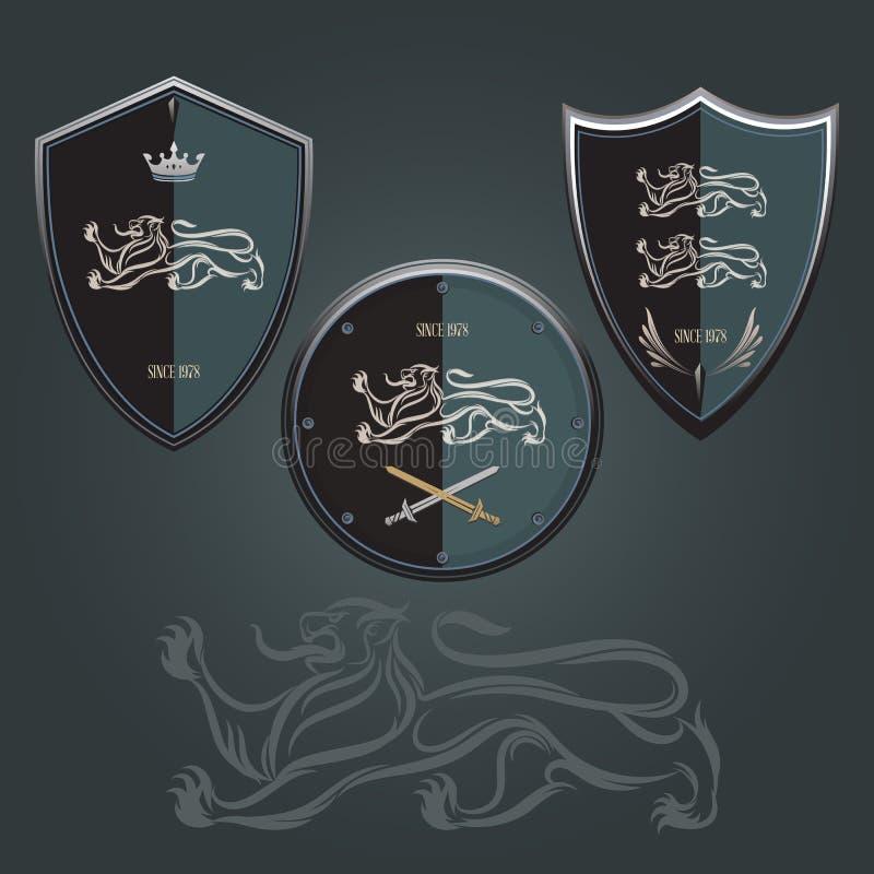 Lion shield stock illustration