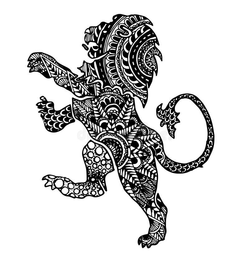 The lion sign horoscope ethnic style outline stock illustration