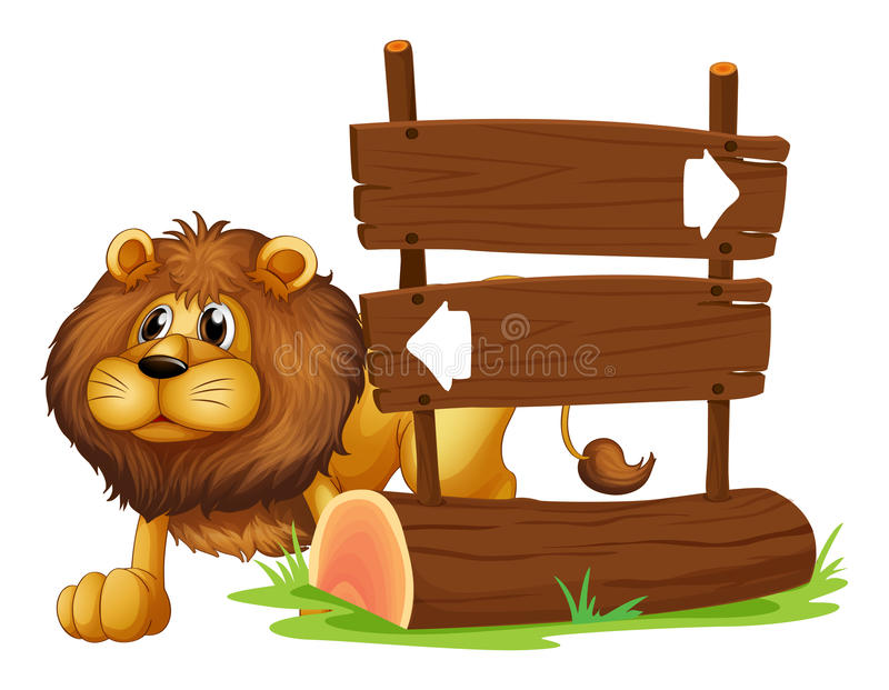 A lion and the signboard. Illustration of a lion and the signboard on a white background royalty free illustration