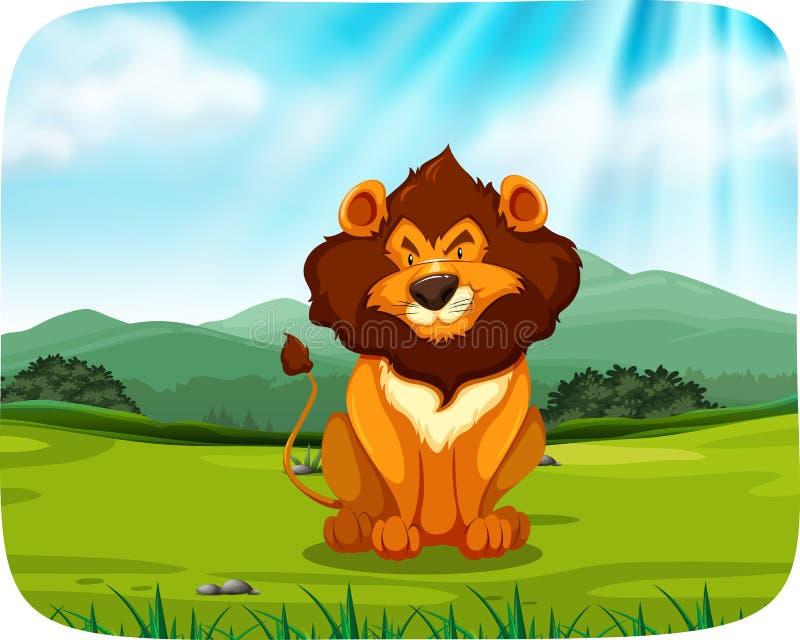 Lion Sitting in pascolo royalty illustrazione gratis