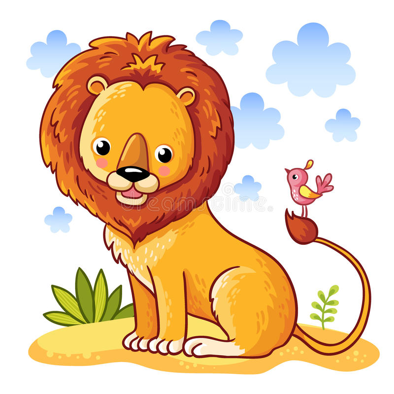 Lion sitting on a sandy meadow. vector illustration