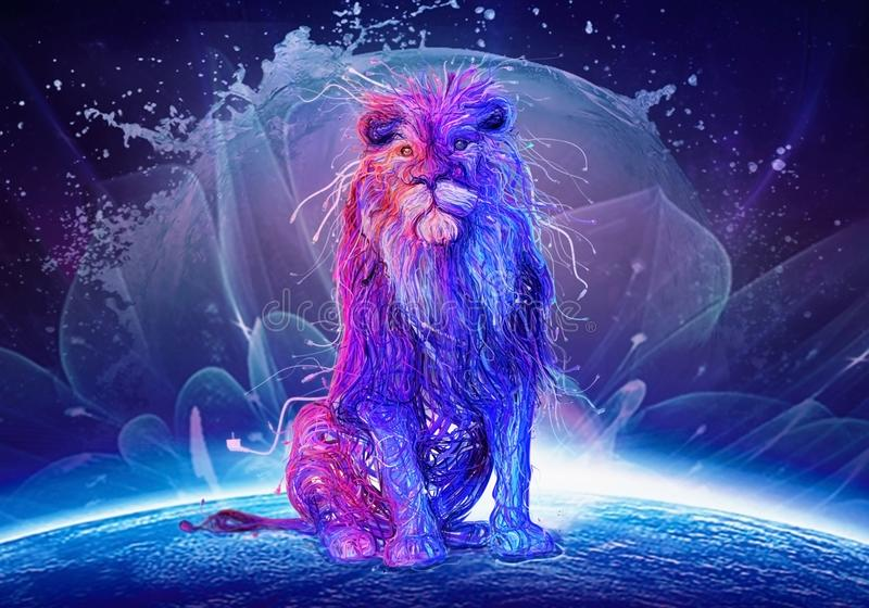 Lion Sitting On Top Of colorido abstrato um globo colorido ilustração do vetor