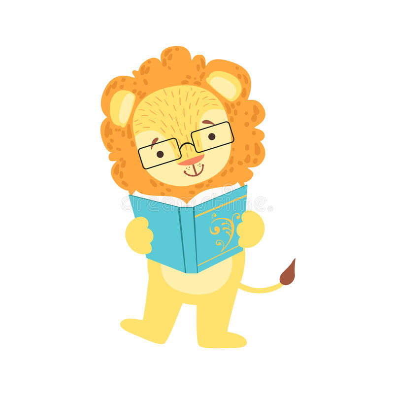 Lion Smiling Bookworm Zoo Character Wearing Glasses And Reading A Book Cartoon Illustration Part Of Animals In Library royalty free illustration