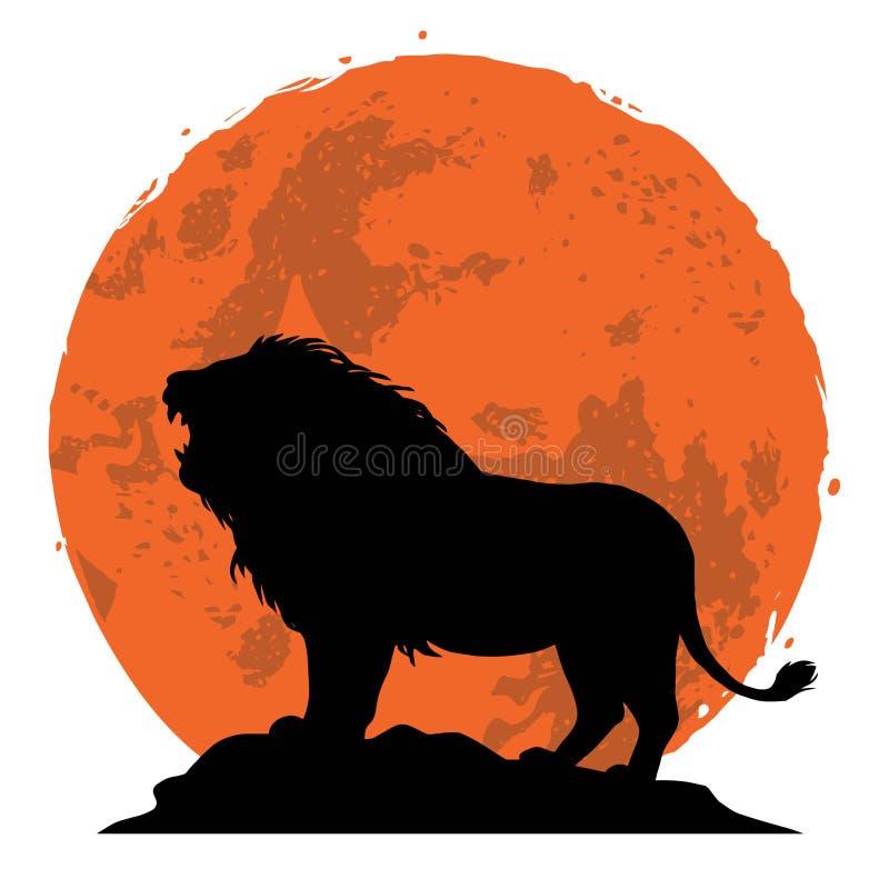 Lion Snarling em uma rocha Vista lateral com fundo do por do sol Ilustração do vetor ilustração stock