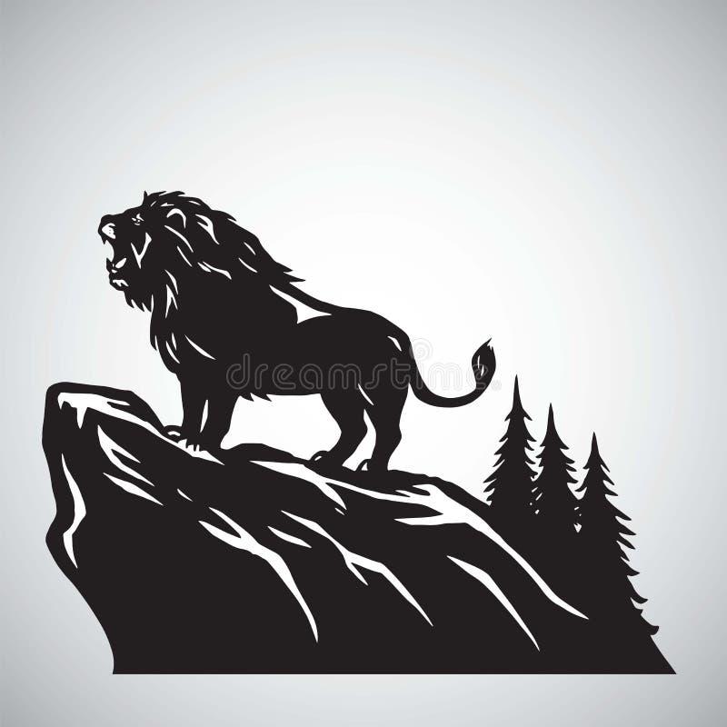 Lion Snarling Roaring selvagem em um monte Ilustração Logo Design do vetor ilustração do vetor