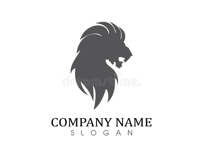 Lion solid logo. Lion logo on white background stock illustration