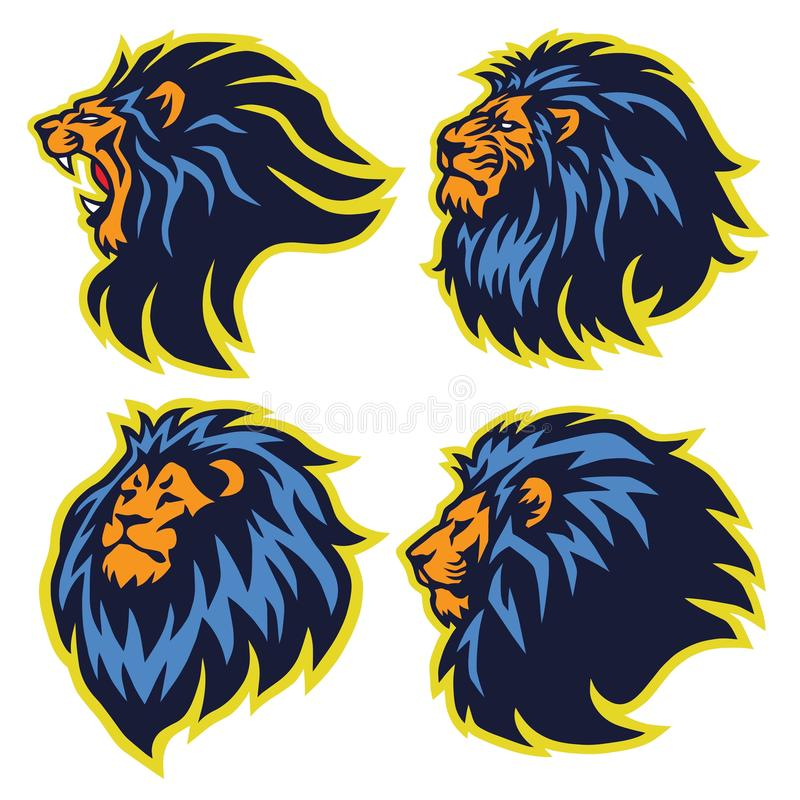 Lion Sport Logo Mascot Set Premium Collection Vector Illustration Template 向量例证