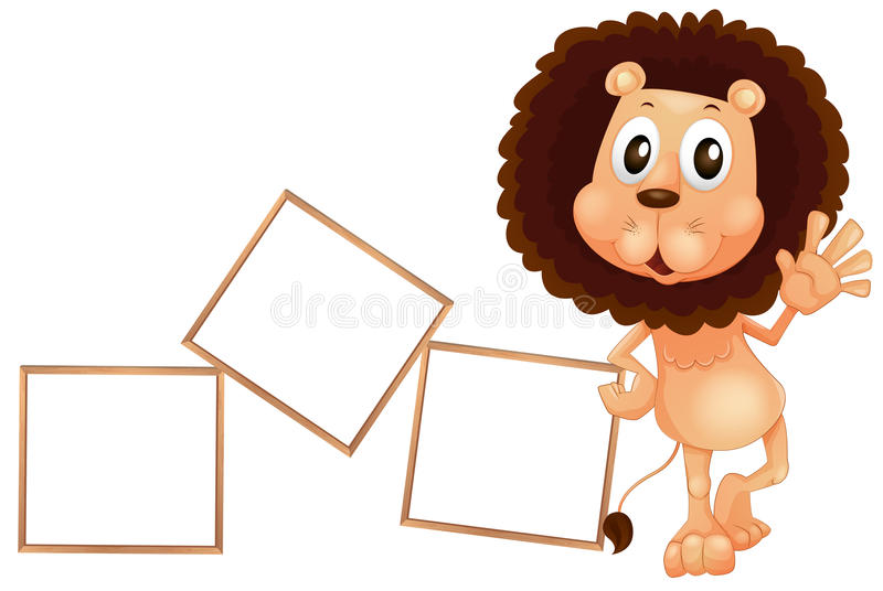 Download A Lion Standing Beside The Empty Boards Stock Illustration - Image: 33203012