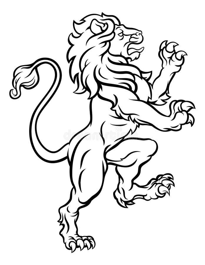 Lion Standing Rampant Heraldic Crest vector illustratie