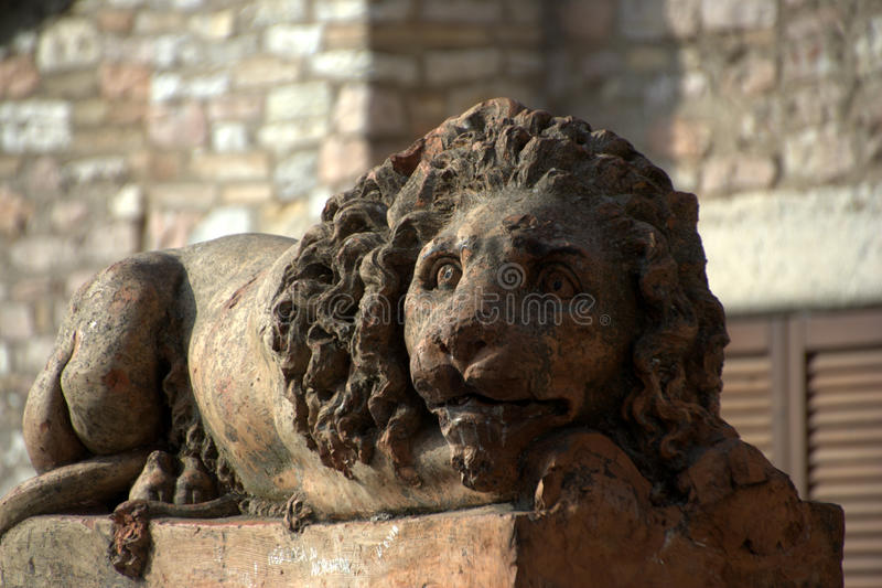 Download Lion statue in Assisi stock photo. Image of tree, monument - 22640904