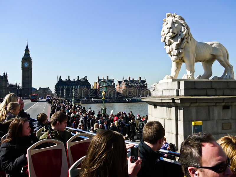 Lion statue with Big Ben on the background stock images