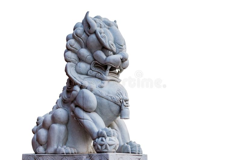 Lion statue in chaina temple isolate white background with clippingpath.  royalty free stock images