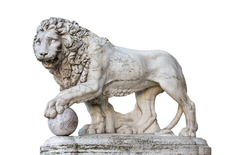 Lion Statue i Florence Italy Isolated på vit arkivbild