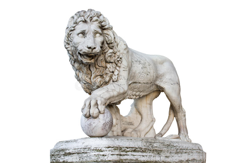 Lion Statue i Florence Italy Isolated på vit royaltyfria foton