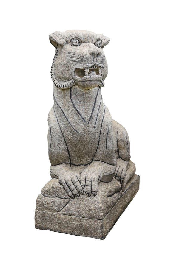 Lion Statue imperial chinês, isolado no fundo branco foto de stock