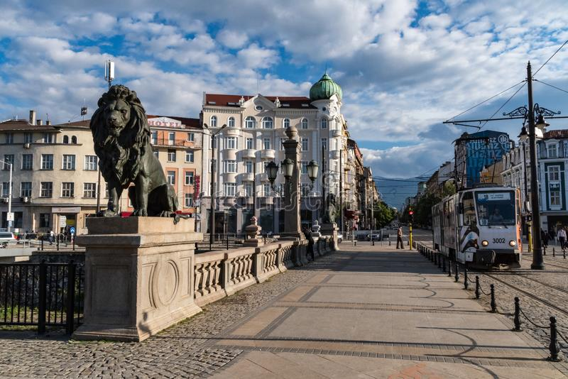 Lion statue on the Lions Bridge in Sofia, Bulgaria royalty free stock photo