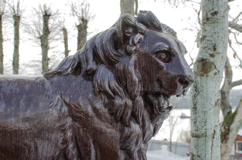 Lion statue in Frei, Norway royalty free stock photography