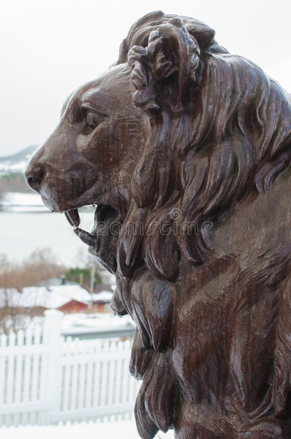 Lion statue in Frei, Norway royalty free stock image