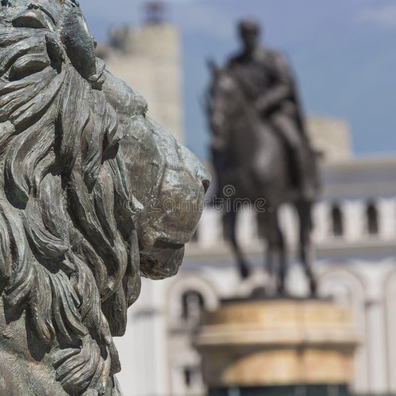 Lion Statue, Skopje, Mazedonien stockbilder