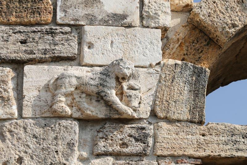 Lion Statue sobre a porta da cidade antiga de Hierapolis, Turquia imagens de stock