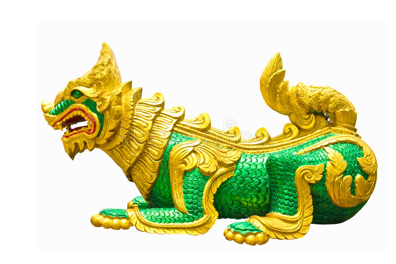 Lion statue in a temple royalty free stock image