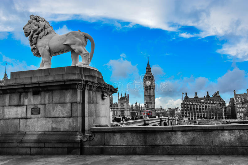 A lion statue beside Westminster Bridge (London). A picture of the Westminster Bridge with Big Ben in the background Nov 2014 royalty free stock images