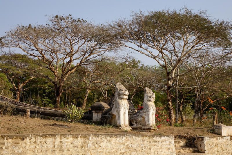Lion statues at the Buddhist temple in Myanmar royalty free stock image