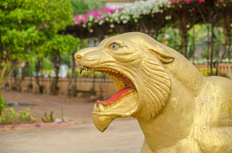 Lion statues in the Vipassana Dhura Buddhist Meditation Center i. Lion as guardian statues in the Vipassana Dhura Buddhist Meditation Center in Oudong, Cambodia stock photo