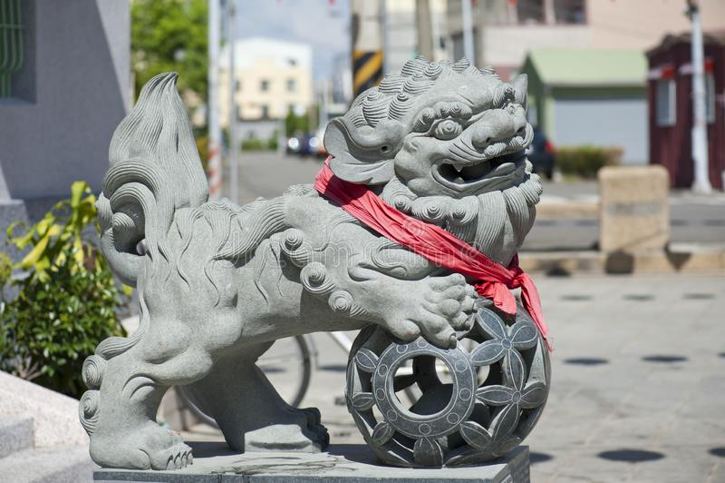 Lion Stone-het snijden bij een Chinese Tempel royalty-vrije stock foto's