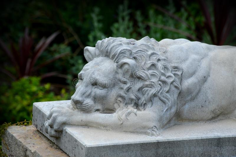 Lion Stone-standbeeld royalty-vrije stock afbeeldingen