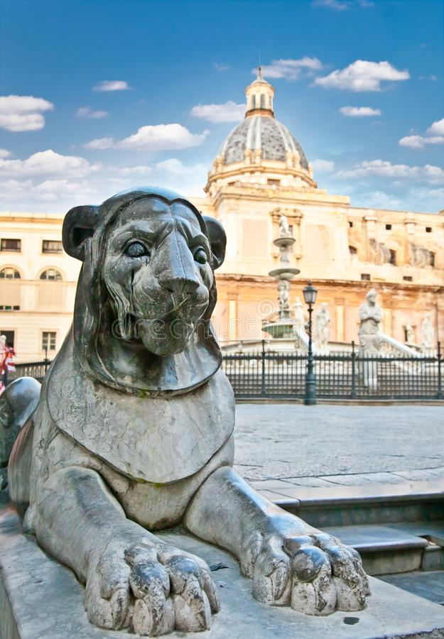 Lion stone statue on Piazza Pretoria in Palermo, Sicily royalty free stock image