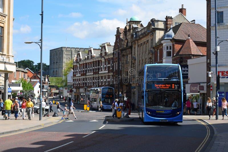 Lion Street vermelho, Norwich City centra-se, Norfolk, Inglaterra foto de stock