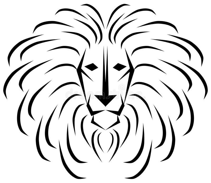 Lion stylisé en noir et blanc illustration libre de droits