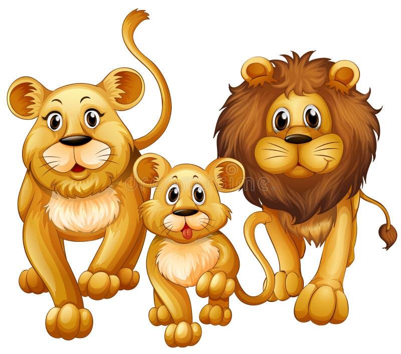 Lion sur la famille avec l'petit animal mignon illustration libre de droits