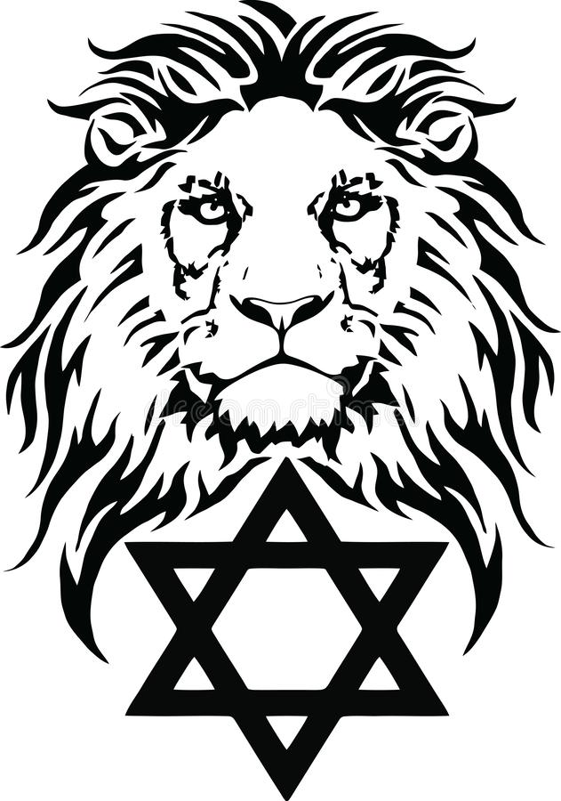 The Lion and the symbol of Judaism - star of David, Megan David. Drawing for tattoo, on a transparent background, vector vector illustration