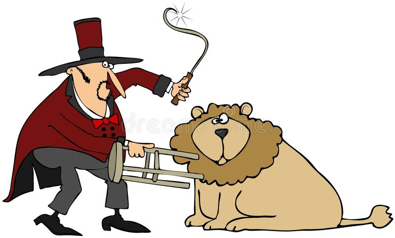 Download Lion Tamer stock illustration. Image of danger, entertain - 30408743